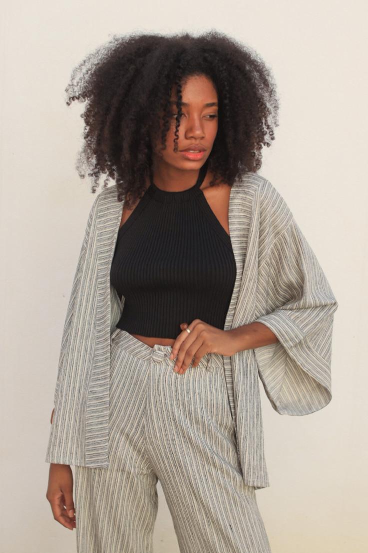 Kimono de Linho Listrado P/B